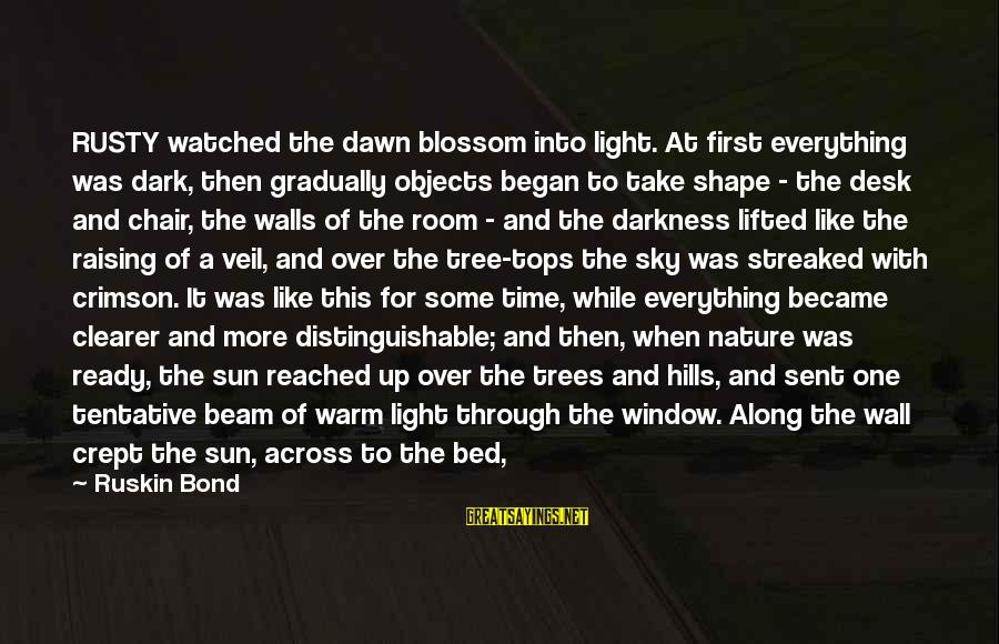 Through The Darkness Into The Light Sayings By Ruskin Bond: RUSTY watched the dawn blossom into light. At first everything was dark, then gradually objects
