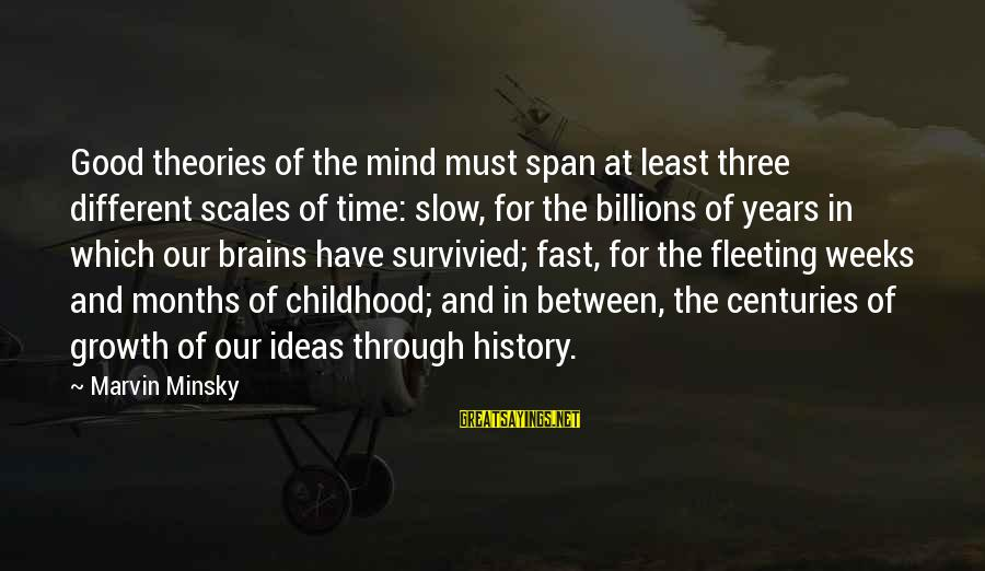 Through The Years Sayings By Marvin Minsky: Good theories of the mind must span at least three different scales of time: slow,
