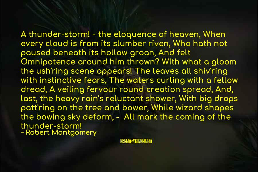 Thrown Around Sayings By Robert Montgomery: A thunder-storm! - the eloquence of heaven, When every cloud is from its slumber riven,
