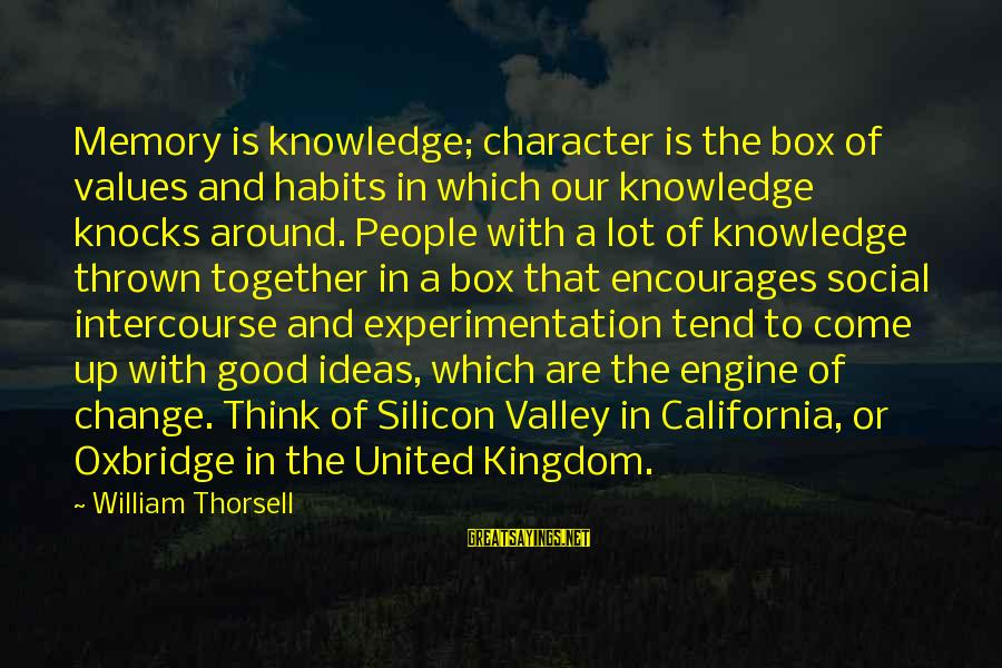 Thrown Around Sayings By William Thorsell: Memory is knowledge; character is the box of values and habits in which our knowledge