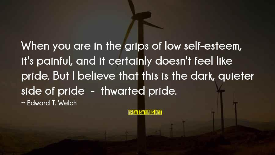 Thwarted Sayings By Edward T. Welch: When you are in the grips of low self-esteem, it's painful, and it certainly doesn't