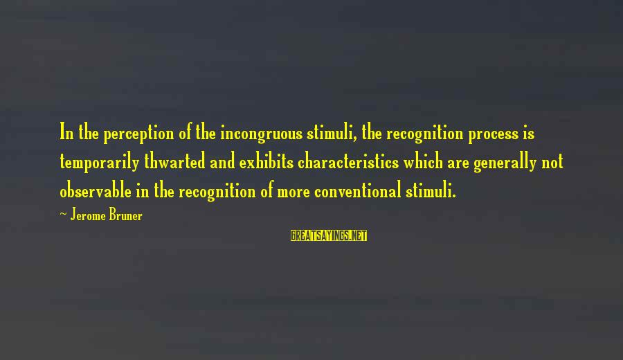 Thwarted Sayings By Jerome Bruner: In the perception of the incongruous stimuli, the recognition process is temporarily thwarted and exhibits