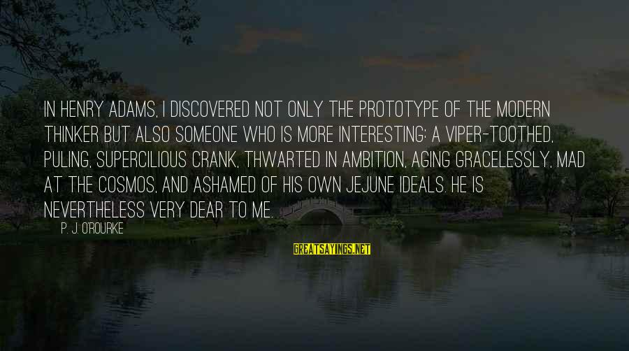 Thwarted Sayings By P. J. O'Rourke: In Henry Adams, I discovered not only the prototype of the modern thinker but also