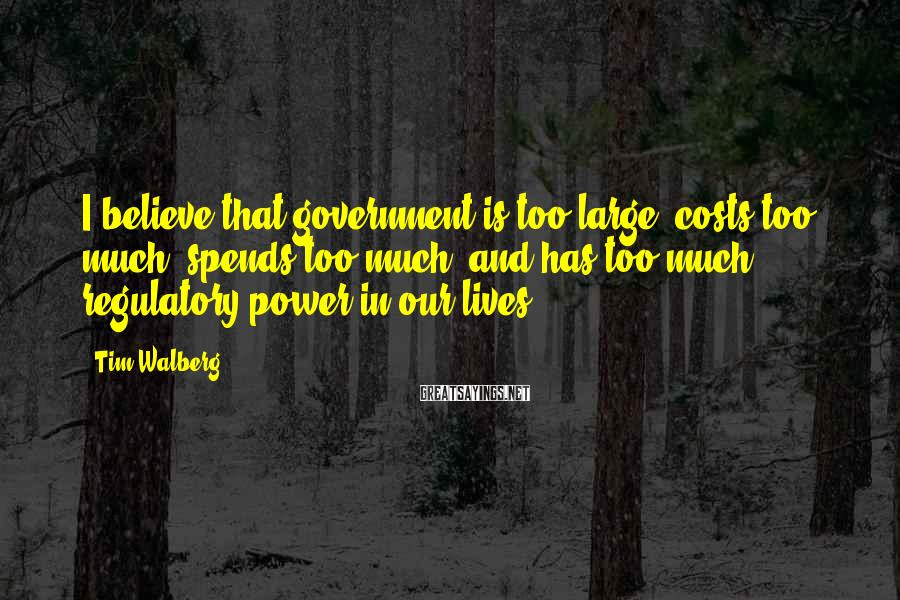Tim Walberg Sayings: I believe that government is too large, costs too much, spends too much, and has