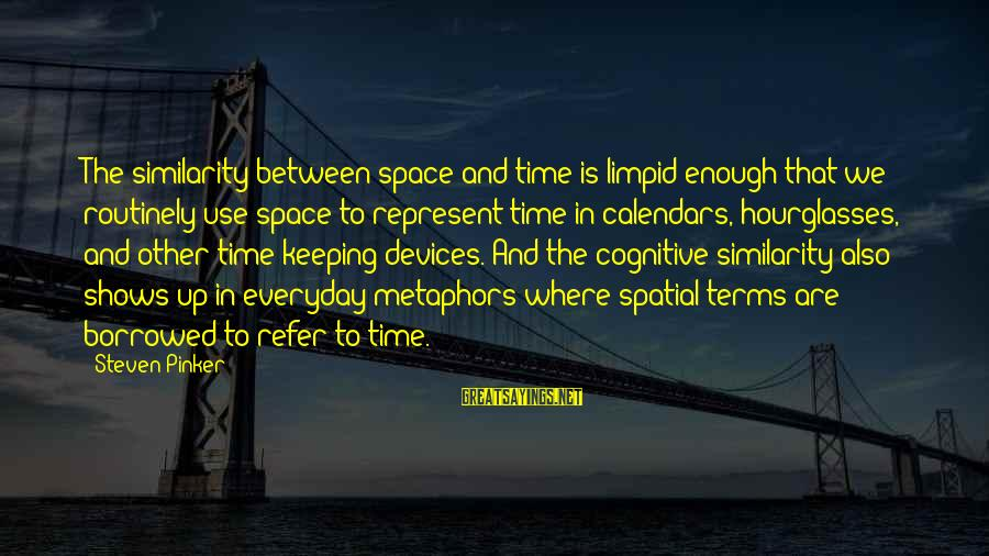 Time And Calendars Sayings By Steven Pinker: The similarity between space and time is limpid enough that we routinely use space to