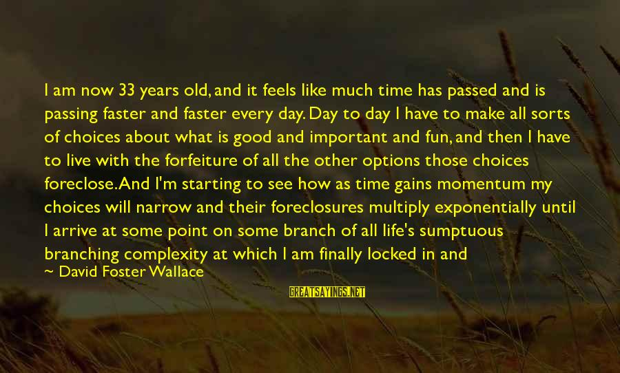 Time Decay Sayings By David Foster Wallace: I am now 33 years old, and it feels like much time has passed and