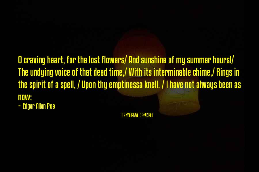 Time Edgar Allan Poe Sayings By Edgar Allan Poe: O craving heart, for the lost flowers/ And sunshine of my summer hours!/ The undying