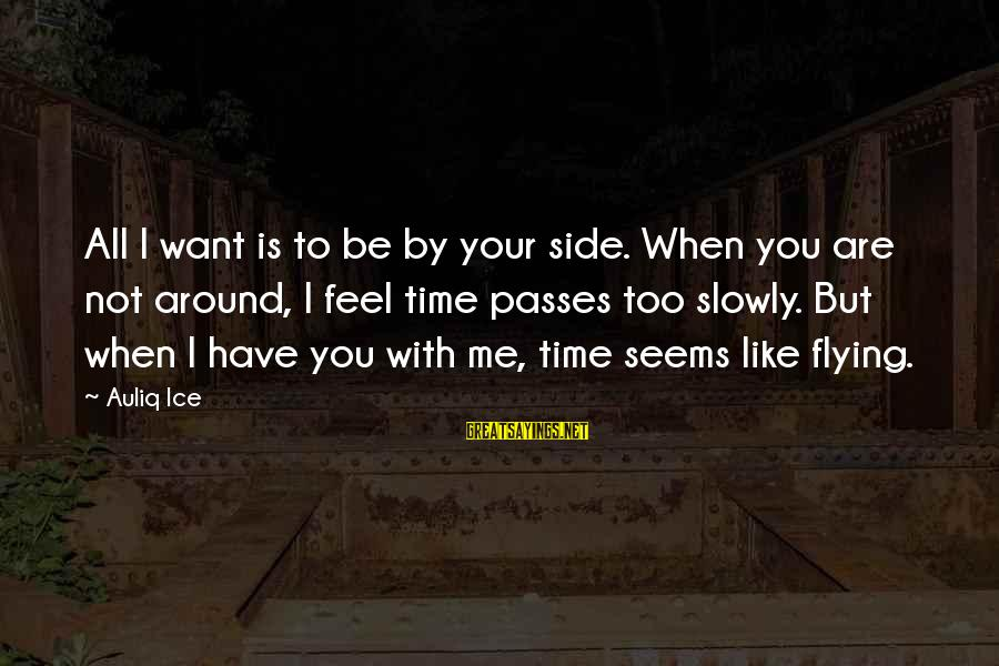 Time Flying By Sayings By Auliq Ice: All I want is to be by your side. When you are not around, I