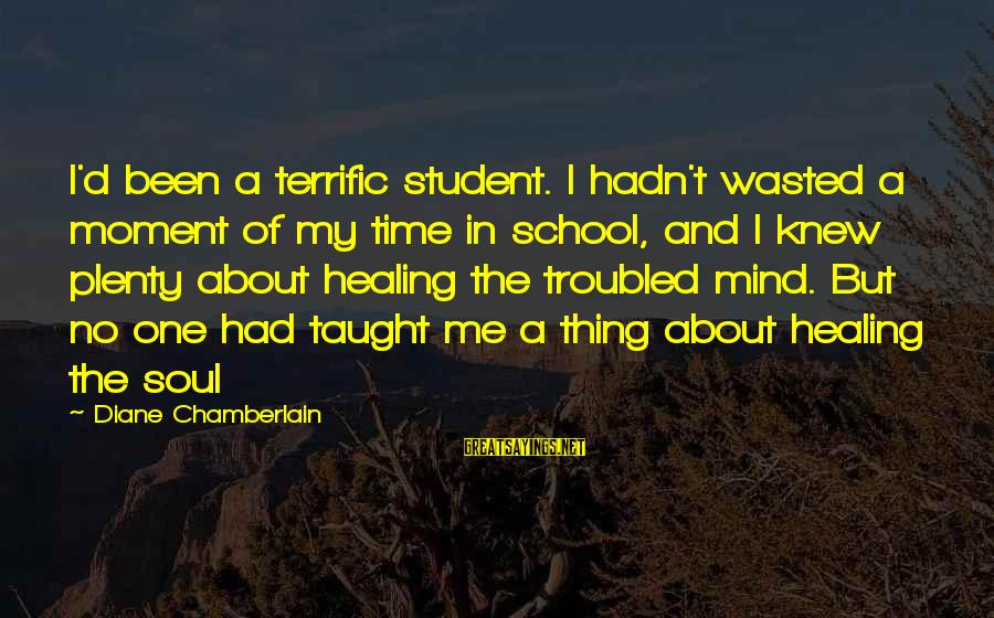 Time Healing Sayings By Diane Chamberlain: I'd been a terrific student. I hadn't wasted a moment of my time in school,