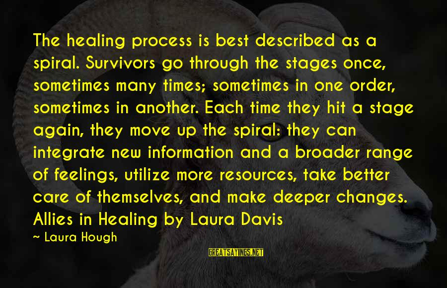 Time Healing Sayings By Laura Hough: The healing process is best described as a spiral. Survivors go through the stages once,