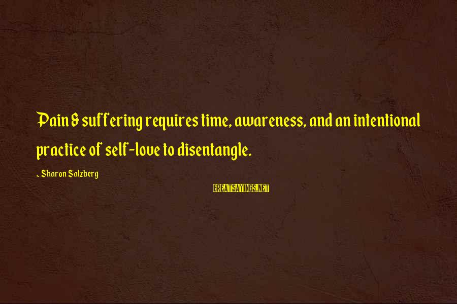 Time Healing Sayings By Sharon Salzberg: Pain & suffering requires time, awareness, and an intentional practice of self-love to disentangle.