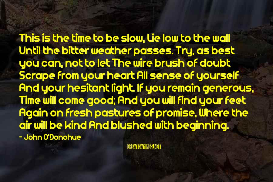 Time Passes So Slow Sayings By John O'Donohue: This is the time to be slow, Lie low to the wall Until the bitter