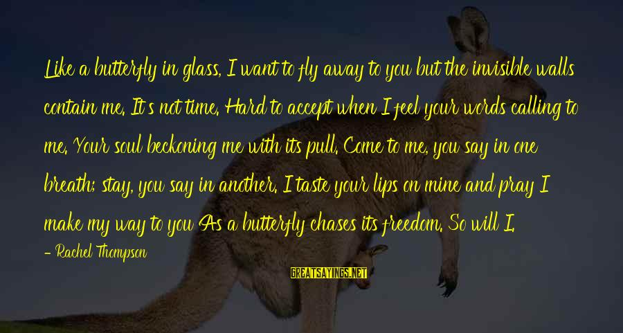 Time To Fly Away Sayings By Rachel Thompson: Like a butterfly in glass, I want to fly away to you but the invisible