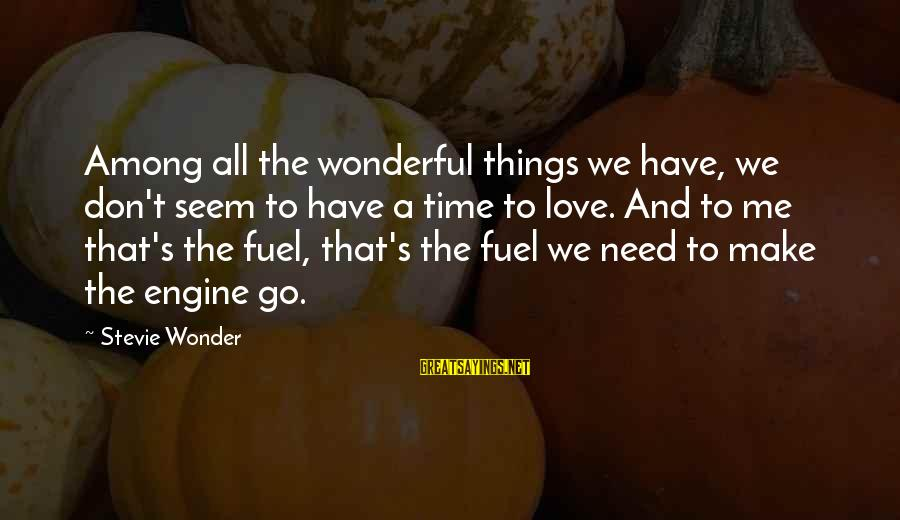 Time To Love Sayings By Stevie Wonder: Among all the wonderful things we have, we don't seem to have a time to