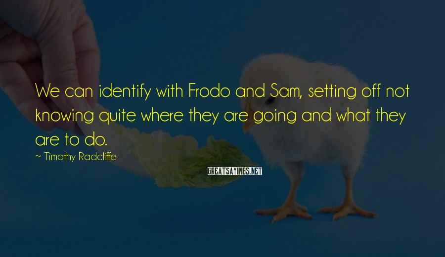 Timothy Radcliffe Sayings: We can identify with Frodo and Sam, setting off not knowing quite where they are