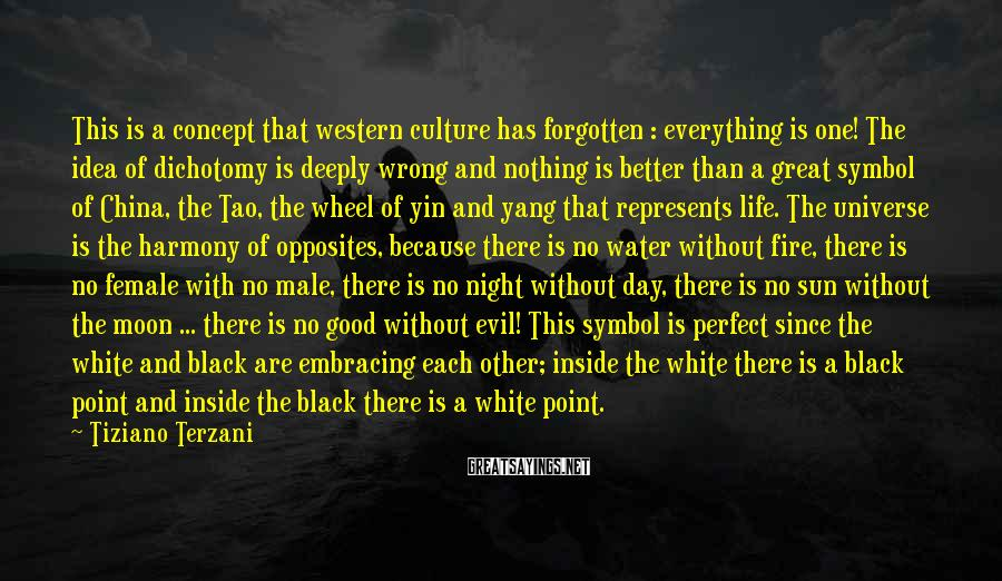 Tiziano Terzani Sayings: This is a concept that western culture has forgotten : everything is one! The idea