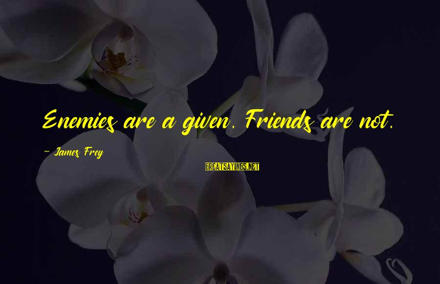Tlaloc Sayings By James Frey: Enemies are a given. Friends are not.