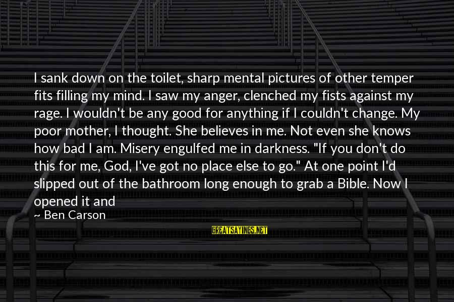 To Be A Good Mother Sayings By Ben Carson: I sank down on the toilet, sharp mental pictures of other temper fits filling my