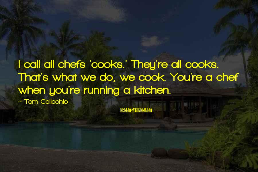 Tom Colicchio Sayings By Tom Colicchio: I call all chefs 'cooks.' They're all cooks. That's what we do, we cook. You're