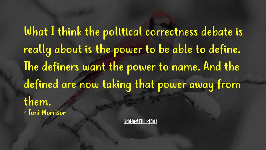 Toni Morrison Sayings: What I think the political correctness debate is really about is the power to be