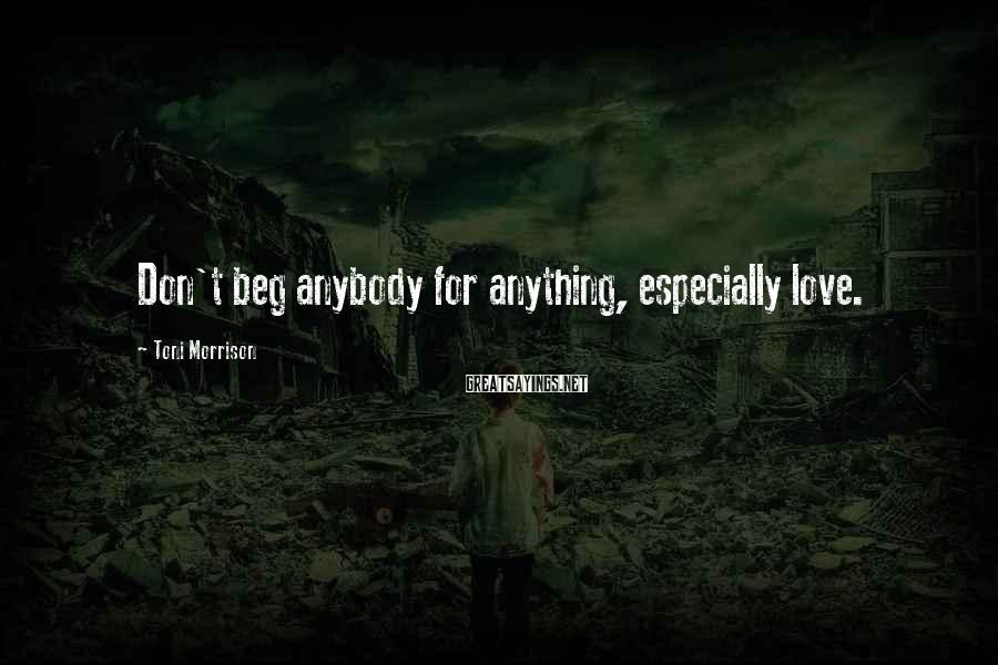 Toni Morrison Sayings: Don't beg anybody for anything, especially love.