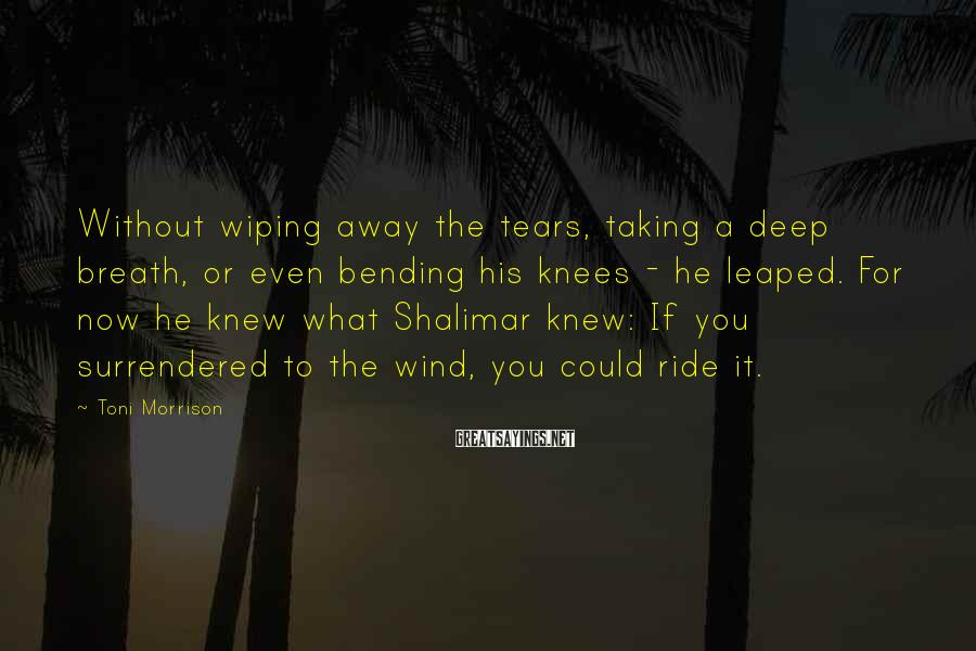 Toni Morrison Sayings: Without wiping away the tears, taking a deep breath, or even bending his knees -