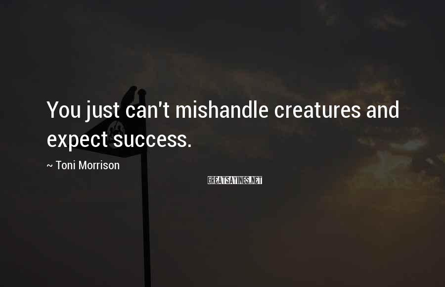 Toni Morrison Sayings: You just can't mishandle creatures and expect success.