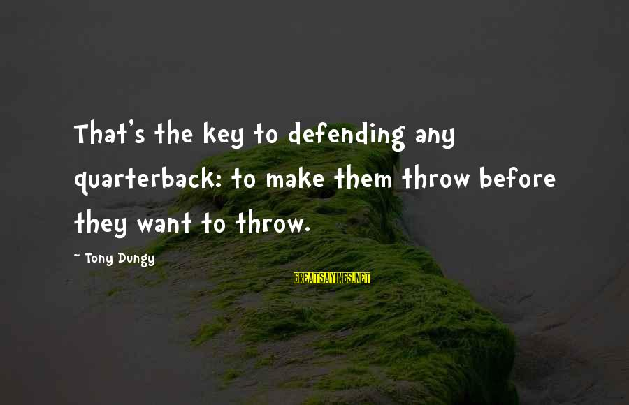 Tony Dungy Sayings By Tony Dungy: That's the key to defending any quarterback: to make them throw before they want to