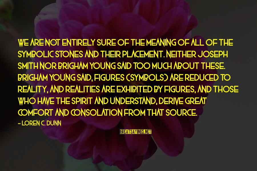 Too Young To Understand Sayings By Loren C. Dunn: We are not entirely sure of the meaning of all of the symbolic stones and