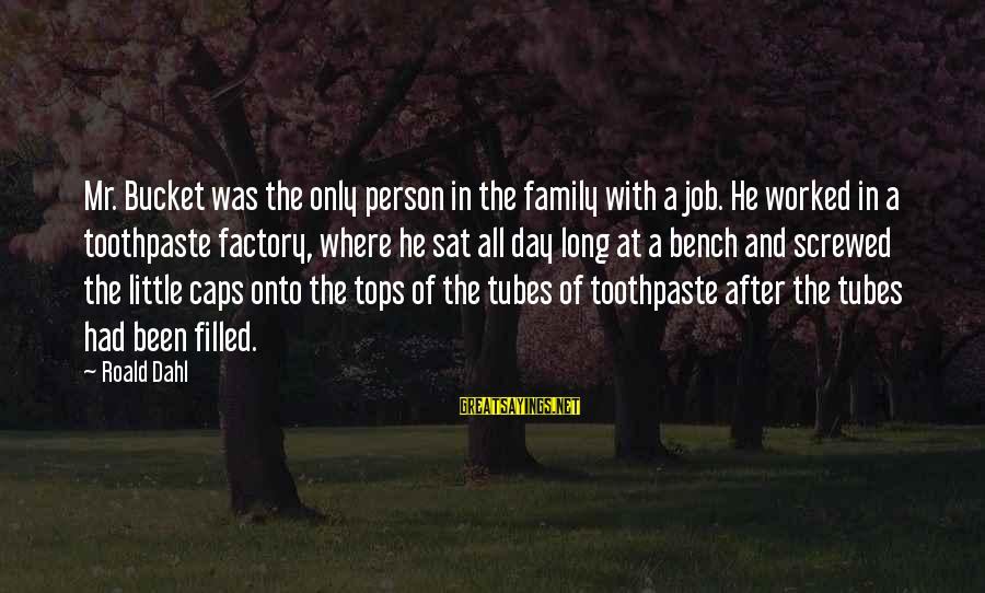 Toothpaste Sayings By Roald Dahl: Mr. Bucket was the only person in the family with a job. He worked in