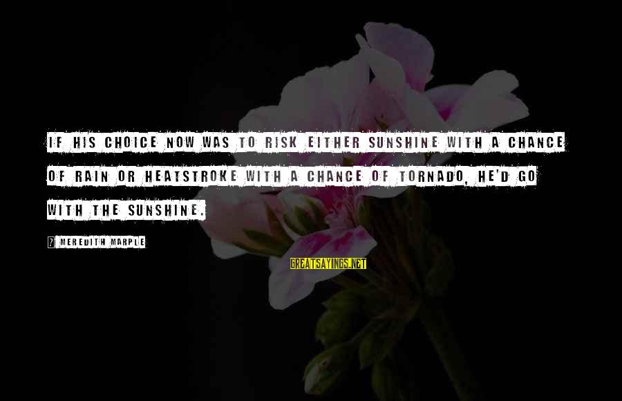 Tornado's Sayings By Meredith Marple: If his choice now was to risk either sunshine with a chance of rain or