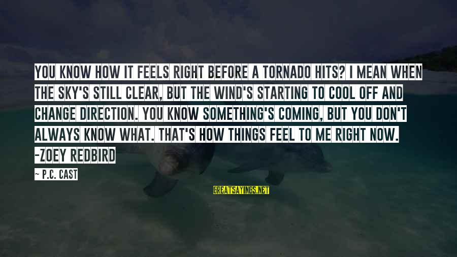 Tornado's Sayings By P.C. Cast: You know how it feels right before a tornado hits? I mean when the sky's