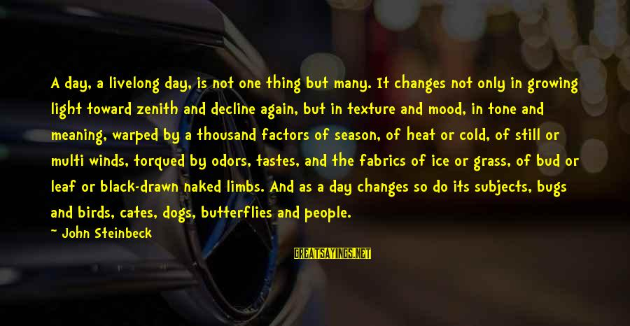 Torqued Sayings By John Steinbeck: A day, a livelong day, is not one thing but many. It changes not only