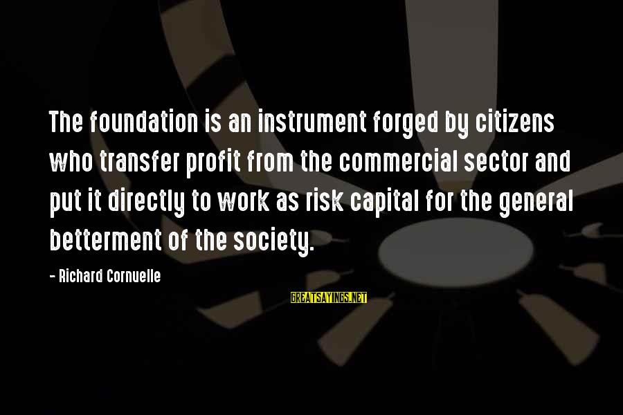 Transfer Of Work Sayings By Richard Cornuelle: The foundation is an instrument forged by citizens who transfer profit from the commercial sector