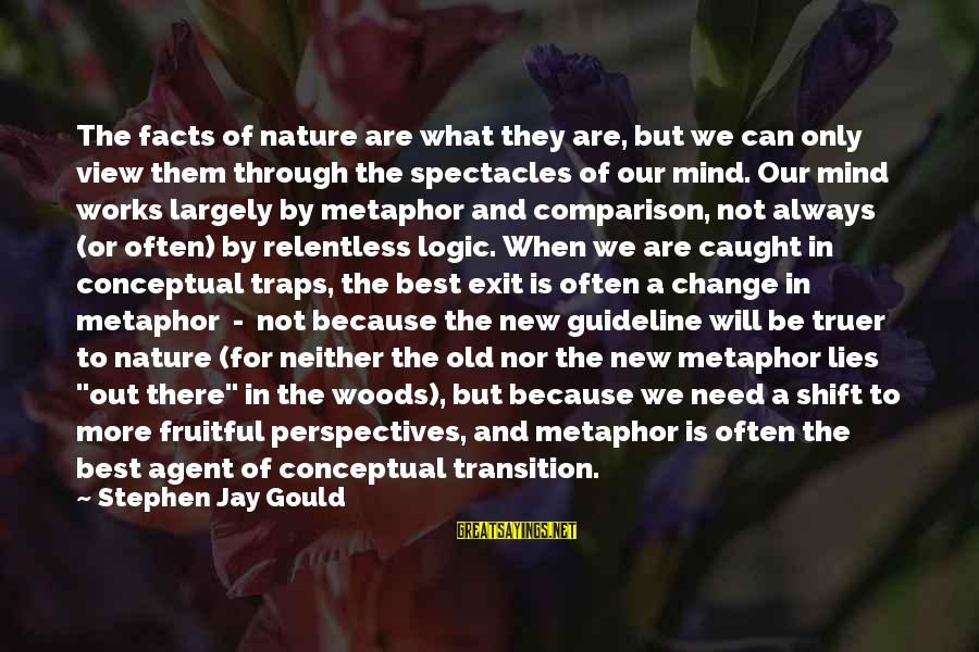 Transition And Change Sayings By Stephen Jay Gould: The facts of nature are what they are, but we can only view them through