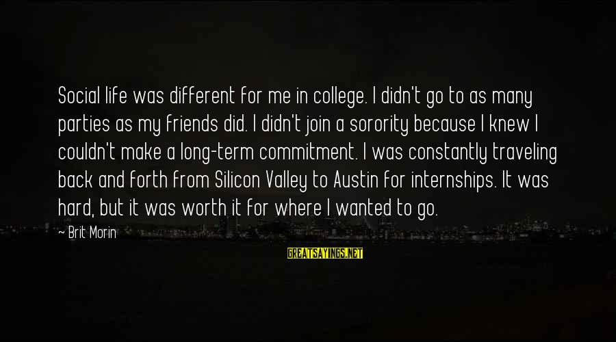 Traveling And Friends Sayings By Brit Morin: Social life was different for me in college. I didn't go to as many parties