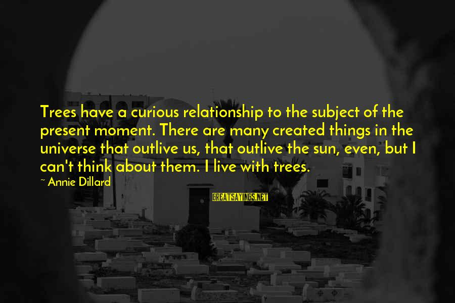 Tree And Relationship Sayings By Annie Dillard: Trees have a curious relationship to the subject of the present moment. There are many