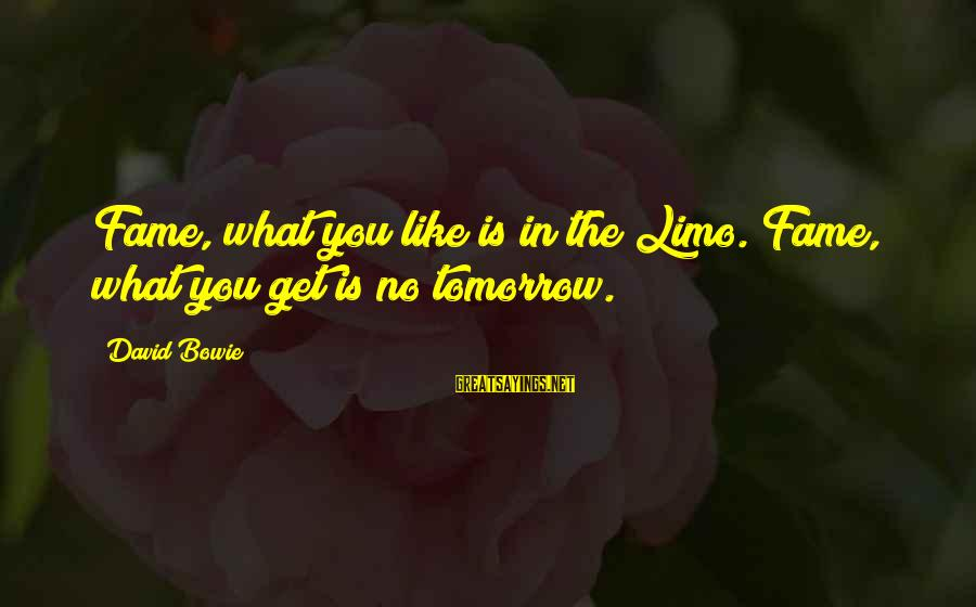 Tree And Relationship Sayings By David Bowie: Fame, what you like is in the Limo. Fame, what you get is no tomorrow.
