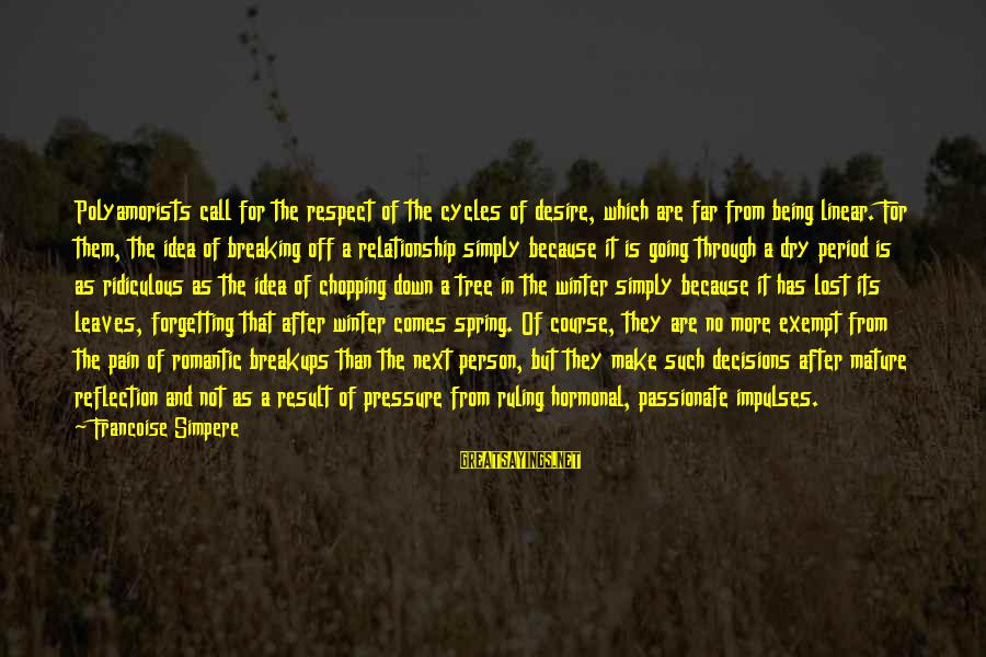 Tree And Relationship Sayings By Francoise Simpere: Polyamorists call for the respect of the cycles of desire, which are far from being