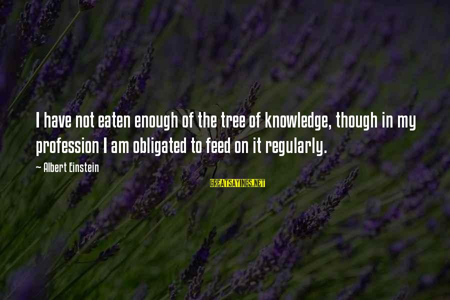 Tree Knowledge Sayings By Albert Einstein: I have not eaten enough of the tree of knowledge, though in my profession I