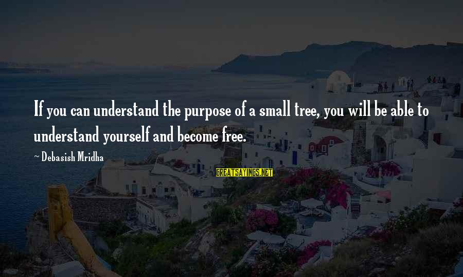 Tree Knowledge Sayings By Debasish Mridha: If you can understand the purpose of a small tree, you will be able to