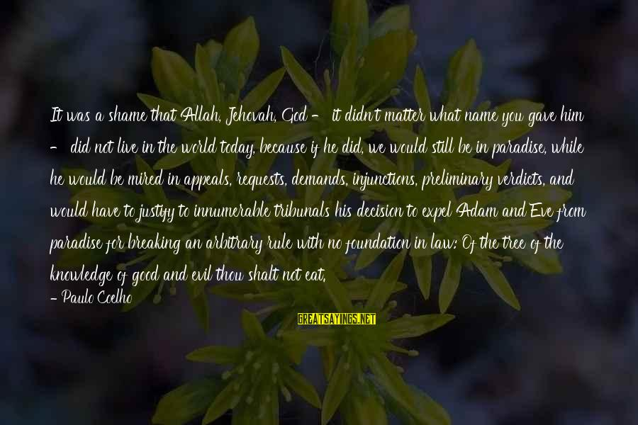 Tree Knowledge Sayings By Paulo Coelho: It was a shame that Allah, Jehovah, God - it didn't matter what name you
