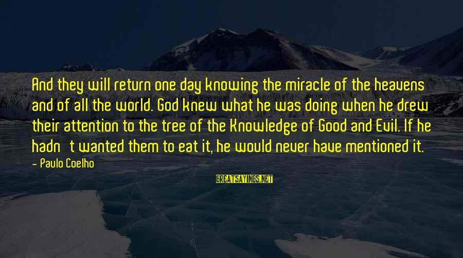 Tree Knowledge Sayings By Paulo Coelho: And they will return one day knowing the miracle of the heavens and of all