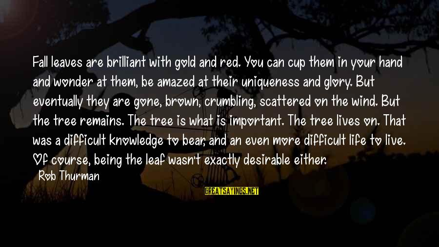 Tree Knowledge Sayings By Rob Thurman: Fall leaves are brilliant with gold and red. You can cup them in your hand