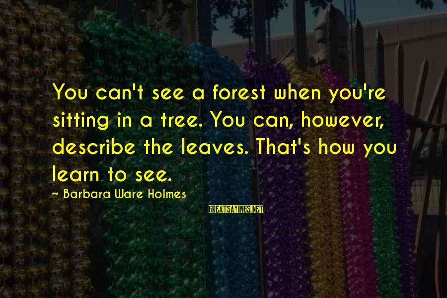 Tree Leaves Sayings By Barbara Ware Holmes: You can't see a forest when you're sitting in a tree. You can, however, describe