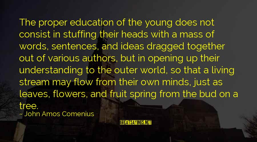 Tree Leaves Sayings By John Amos Comenius: The proper education of the young does not consist in stuffing their heads with a