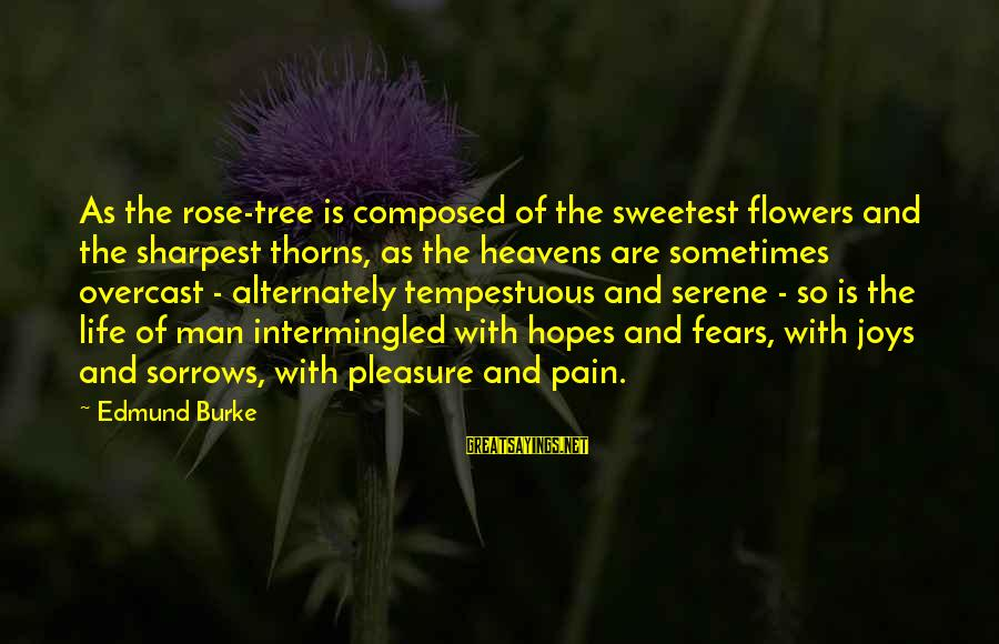 Tree Of Life Inspirational Sayings By Edmund Burke: As the rose-tree is composed of the sweetest flowers and the sharpest thorns, as the