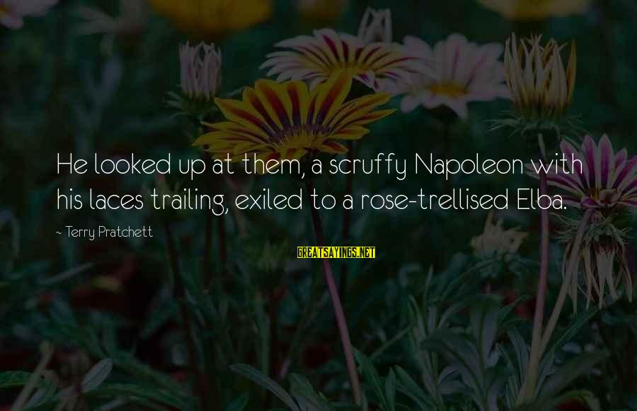 Trellised Sayings By Terry Pratchett: He looked up at them, a scruffy Napoleon with his laces trailing, exiled to a