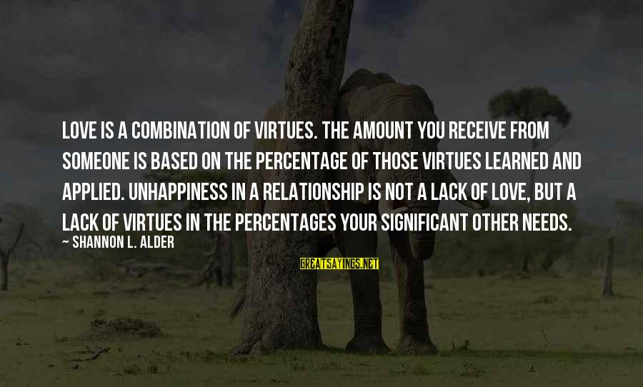Trust And Respect In A Relationship Sayings By Shannon L. Alder: Love is a combination of virtues. The amount you receive from someone is based on