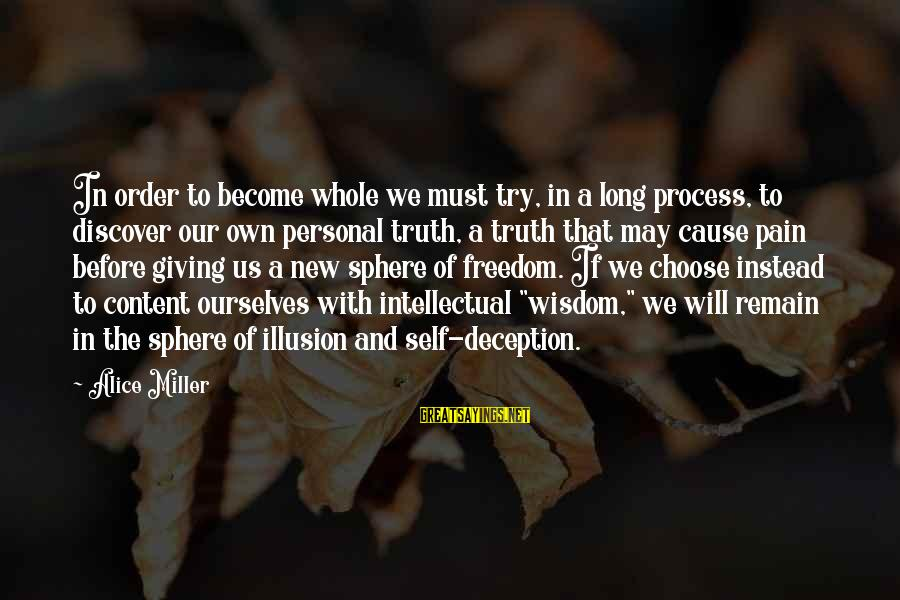 Truth And Deception Sayings By Alice Miller: In order to become whole we must try, in a long process, to discover our